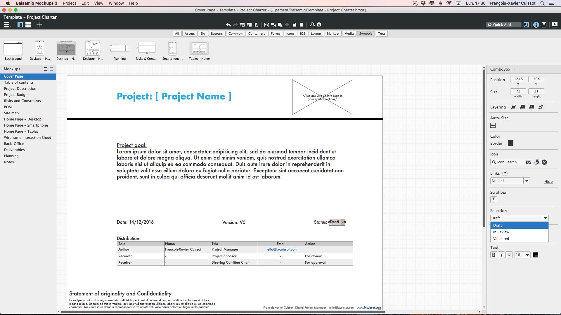 Project Charter Balsamiq 3