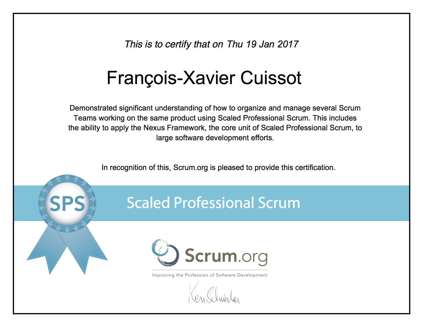 Scrum Certifications Professional Scaled Profesionnal I Francois-Xavier Cuissot