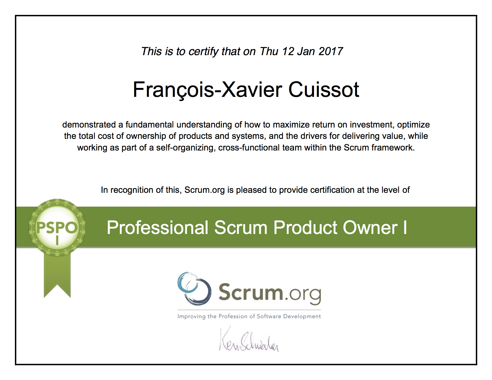 Scrum Certifications Professional Scrum Product Owner I Francois-Xavier Cuissot
