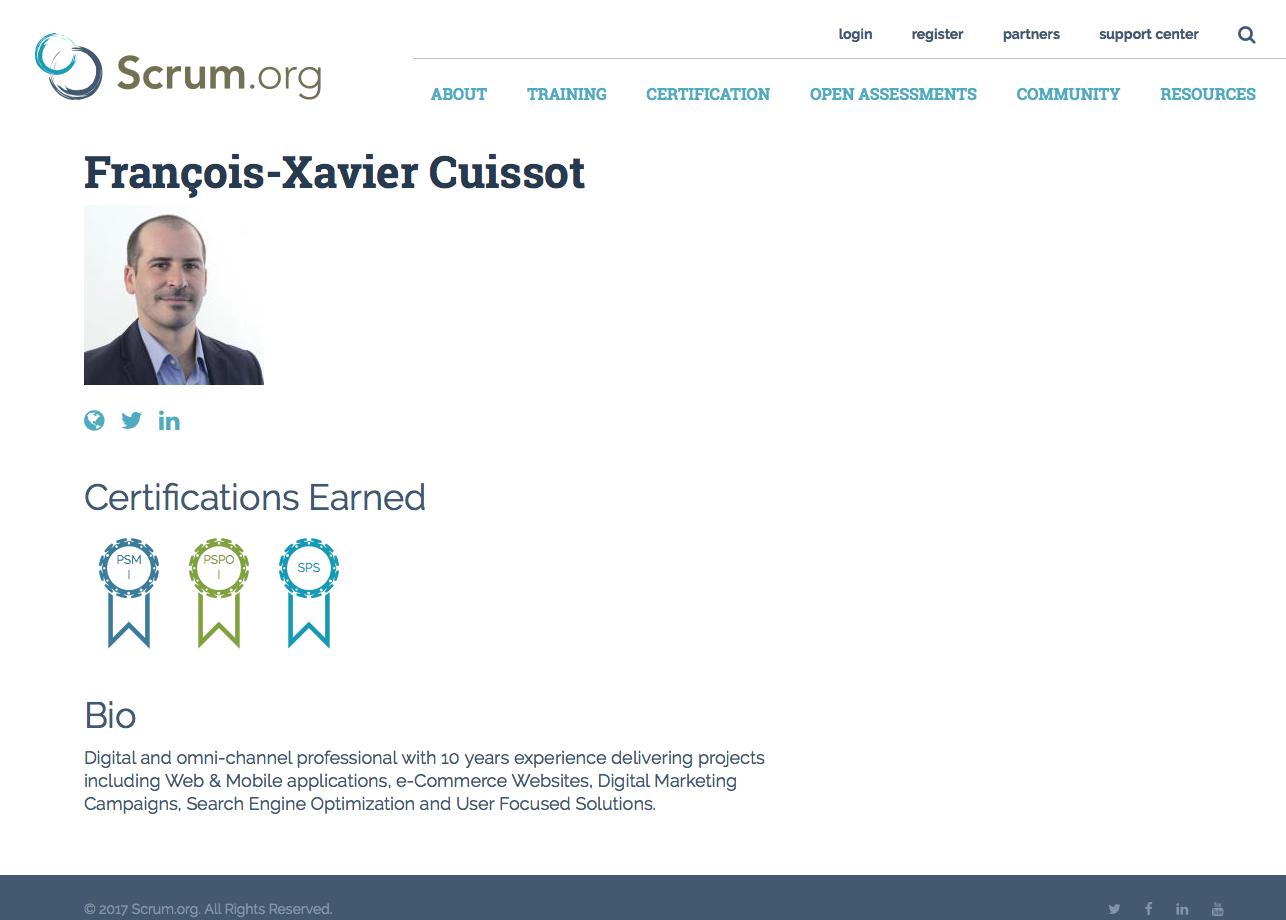 SPS PSPO PSM Francois-Xavier Cuissot