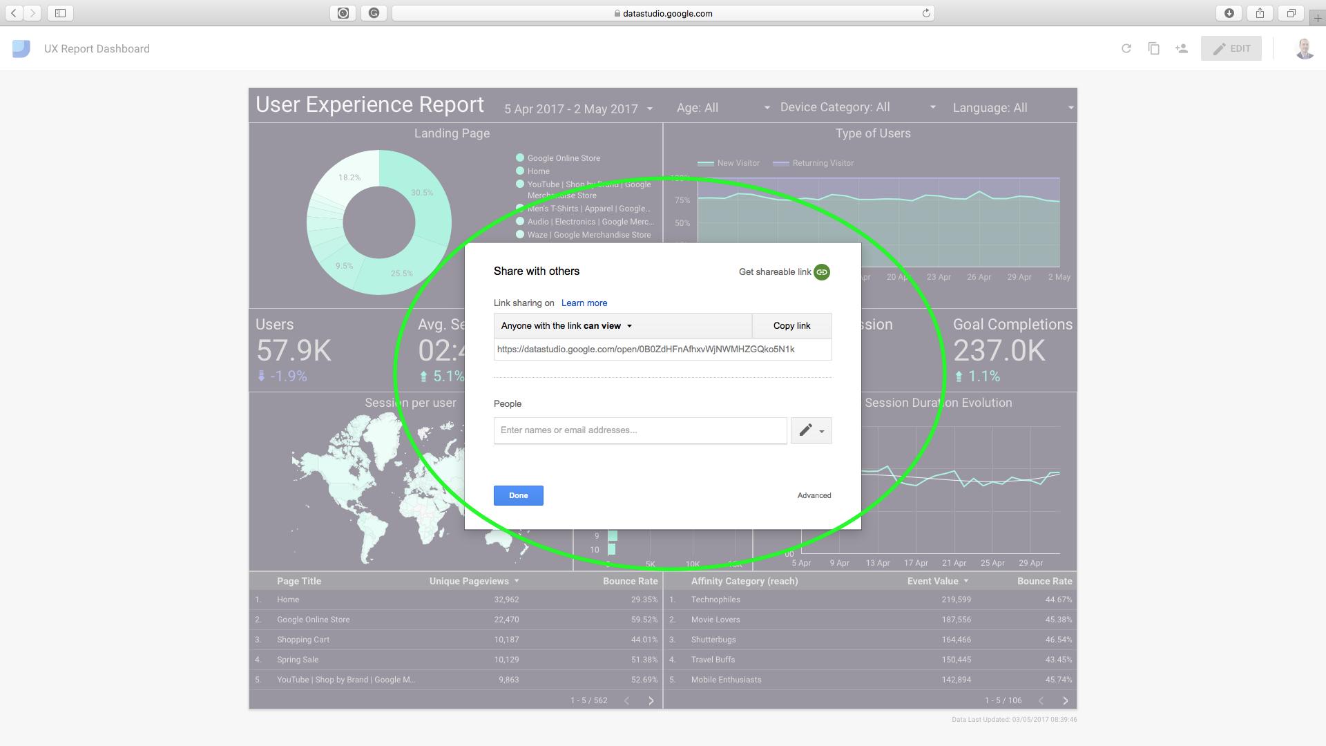 UX report Google Data Studio template 6